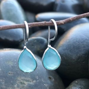 Anthropologie STERLING silver chalcedony EARRINGS
